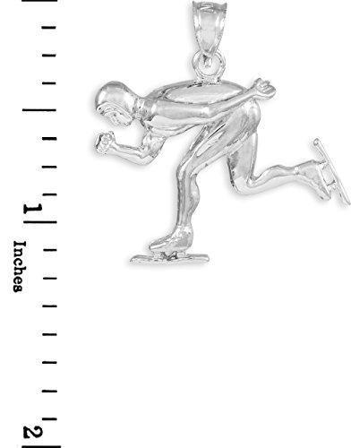 10 ct 471/1000 Or Blanc Schlittschuhlaufen / Speed ??Skater Charme Sport- Pendentif Collier (Livre Avec un 45 cm Chaine)