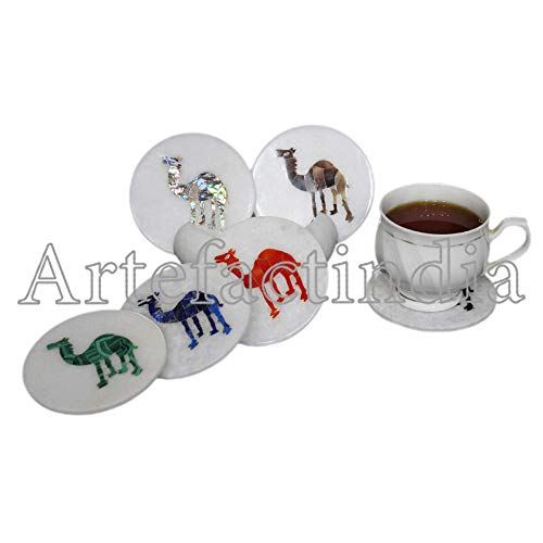 Artefactindia Camel Marquetry Art Inlay White Marble Coaster Set for Drinks 4