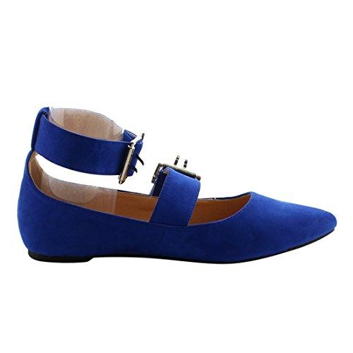 Betani Fj03 Confort Cheville Sangle Amande Orteil Ballerines Bleu Royal