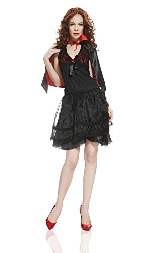 Adult Women Lady Vampire Halloween Costume Queen of Darkness Dress Up & Role Play (Standard)