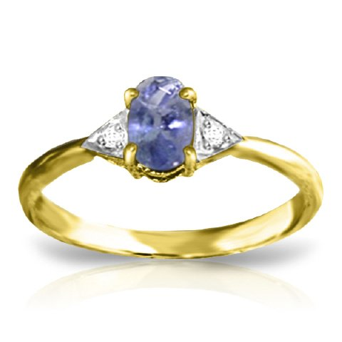 14k Solid Yellow Gold Ring with Diamonds and Tanzanite - Size 9.0