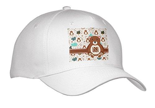 3dRose Uta Naumann Personal Monogram Initials - Letter N Personal Monogram Bear Animal Pattern - Personalized Initial - Caps - Adult Baseball Cap (Cap_275213_1) (Personal Monogram)