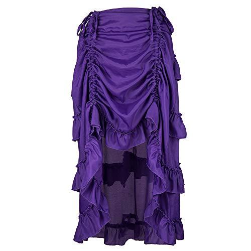 (Landfox Maxi Dress,Big, Ruffles Pirate Skirt,Women's Steampunk Gothic Skirt)