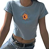 Womens Shirts Shirt Tops Lady Sun Embroidery Short Sleeve T Shirts Casual Top