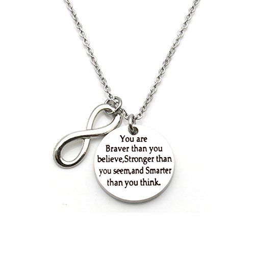 Price comparison product image You Are Braver Than You Believe Stronger Than You Seem Inspirational Pendant Necklace
