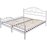 Giantex Wood Slats Steel Bed Frame Platform Headboard Footboard Bedroom (Queen, White)