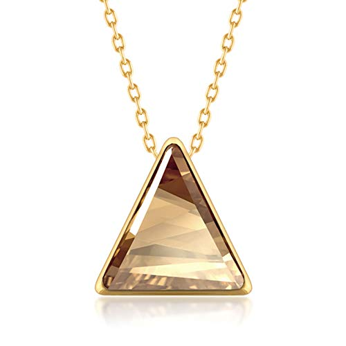 Ed Heart Pendant Necklace with Yellow Beige Golden Shadow Triangle Crystals from Swarovski Gold Plated