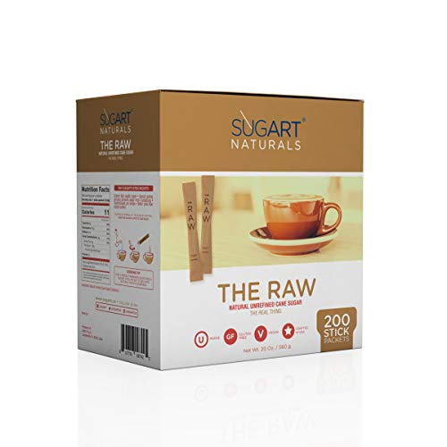 SUGART - THE RAW SUGAR - 200 Individual Serving Stick Packets - U Parve/Kosher by SUGART (Image #1)