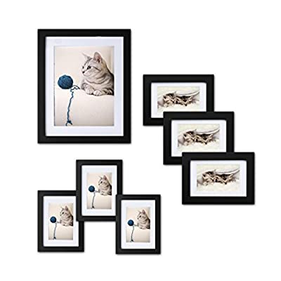 Picture Frames Set of 7: Solid Wood, Three 4x6 Inches - Three 5x7 Inches - One 8x10 Inches,Mats and Hanging Hardware Included