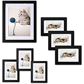 innocheer picture frame set of 7 solid wood three 4x6 inches three 5x7 - Wood Picture Frame Set