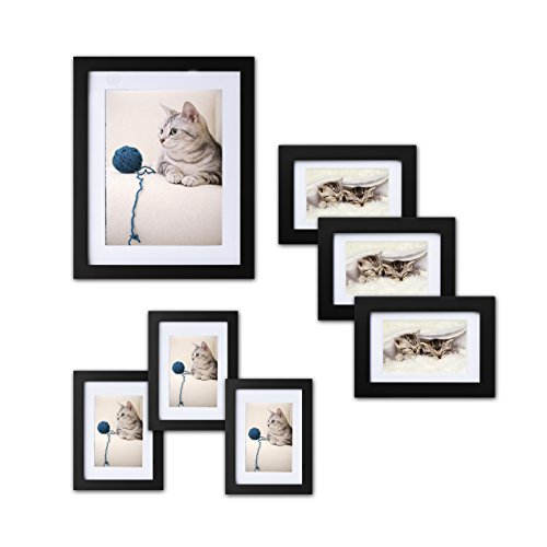 Innocheer Picture Frame Set of 7: Solid Wood, Three 4x6 Inches - Three 5x7 Inches - One 8x10 Inches, Acrylic Sheet Front(Black)