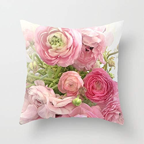 Cottage Chic Floral Spring Decor. Shabby Decor Blush Pink Rose Ruffle Pillow Cover French Country Cushion Cover