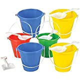 """Neliblu Beach Sand Pails With Shovels Pool Party Toys 5.5"""" Bulk Party Set Play Sand Buckets (6 Shovel and Pail Sets) By"""