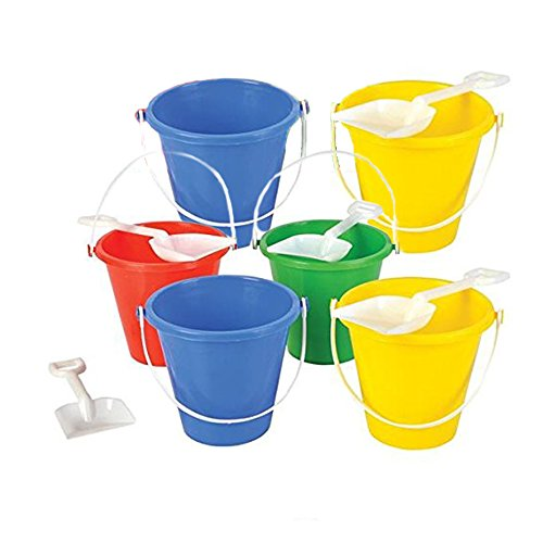 Pail Sand (Neliblu Beach Sand Pails With Shovels Pool Party Toys 5.5