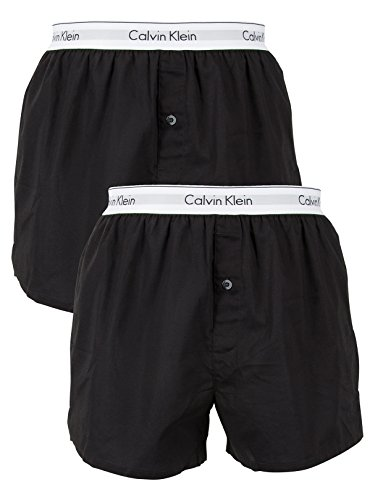 Calvin Klein Men's 2 Pack Logo Slim Fit Boxers, Black, ()
