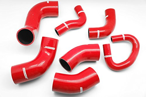 Autobahn88 Intercooler Silicone Hose Kit for 2001-2006 Mitsubishi Lancer Evolution EVO 7 8 9 CT9A 4G63 (Red -with Clamp (Mitsubishi Lancer Evolution Viii)