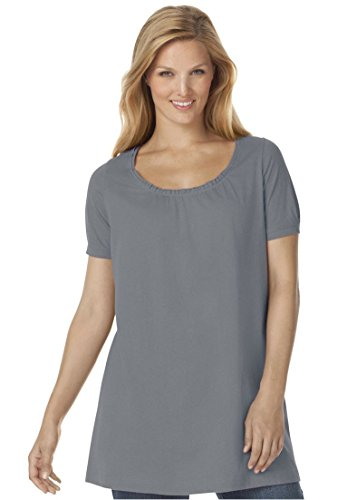Women's Plus Size Shirred A-Line Tunic Medium Heather Grey,1X