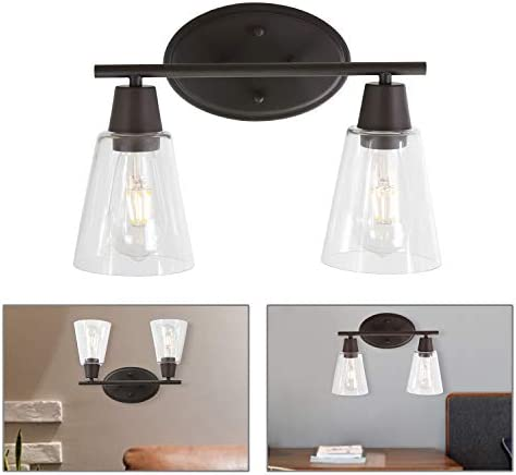 BONLICHT Double Sconce Vintage Industrial 2-Lights Wall Sconces with Cone Clear Glass Shade,Oil-Rubbed Bronze Vanity Light Fixture Rustic Wall Mounted Lamp for Porch Farmhouse Bedroom Bathroom Mirror