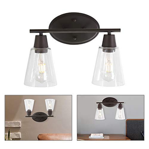 BONLICHT Double Sconce Vintage Industrial 2-Lights Wall Sconces with Cone Clear Glass - Light Mirrors Bathroom Pendant
