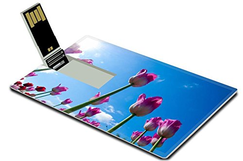 Luxlady 32GB USB Flash Drive 2.0 Memory Stick Credit Card Size ID: 40731620 Tulips Bulbous seeds lily flowers with large cup shaped Beautiful bouquet of tulips colorful tulips tulips in spring