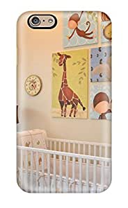 Cynthaskey Snap On Hard Case Cover Unisex Nursery Decorated With Zoo Animals And White Crib Protector For Iphone 6