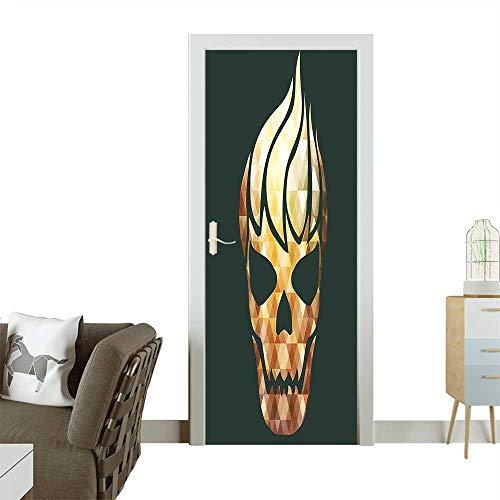 Homesonne Waterproof Decoration Door DecalsSkull with Fractal Effects in Fire Evil Halloween Concept Yellow Light Caramel Dark Perfect ornamentW38.5 x H79 INCH ()