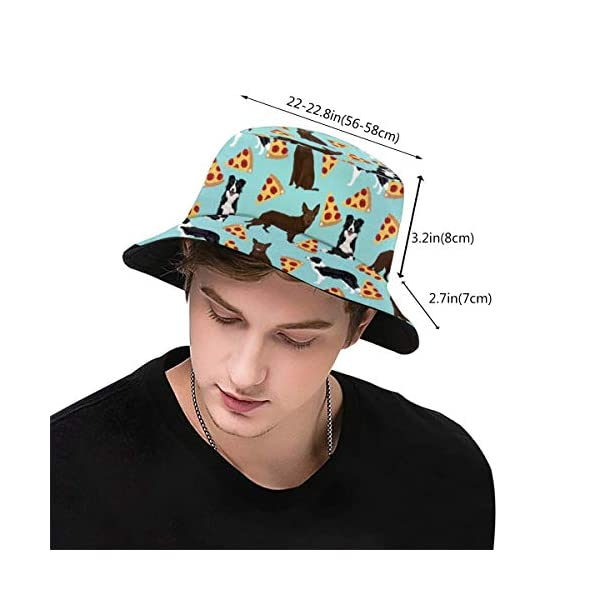 Bucket Hat Packable Reversible Australian Kelpie Border Collies Pizza Print Sun Hat Fisherman Hat Cap Outdoor Camping Fishing Safari for Men Women Black 3