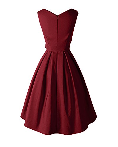 LaoZan Elegante Sin mangas Vestido retro Bowknot Vestido de Swing Rockabilly Audrey Hepburn Vestido Vino rojo