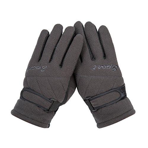 (Grey Winter Thinsulate Ski Gloves Anti Slip For teen boy girls)