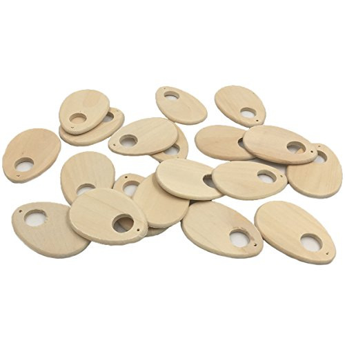 Set Wood Pendant (Wendysun 20Pcs Wood Handmade Pendant Wooden Earring Accessories Hollow Round Natural Unfinished Wood Beads 57mmx39mm Wood Jewelry Making Beads Supplies)