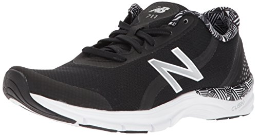 Black Ladies Trainers - New Balance Women's 711v3 Cush + Cross-Trainer-Shoes, Black/White, 65 B US