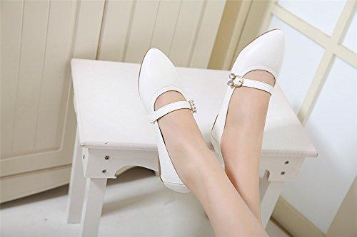 LIVY 2017 nuevos simples de metal puntiaguda pisos hebilla de cierre de los zapatos Blanco