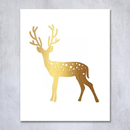 Deer Gold Foil Print Small Poster Home Decor Wall Art Reindeer Antlers Rustic Chic Metallic Gold Art 5 inches x 7 inches D3