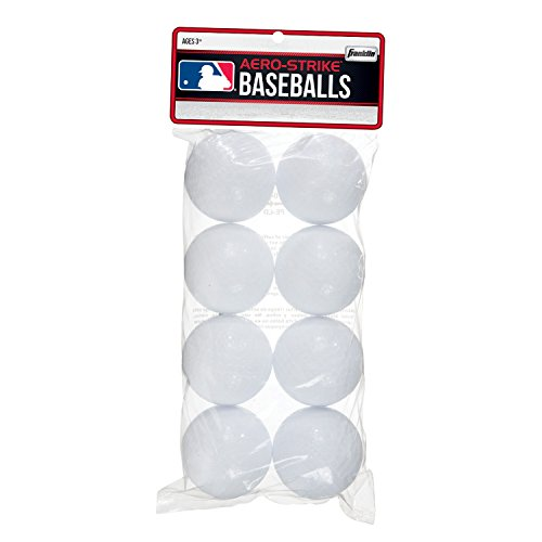 Franklin Sports Aero-Strike Plastic Baseballs - Pack of 8 (70-mm) (Plastic Baseballs Training)