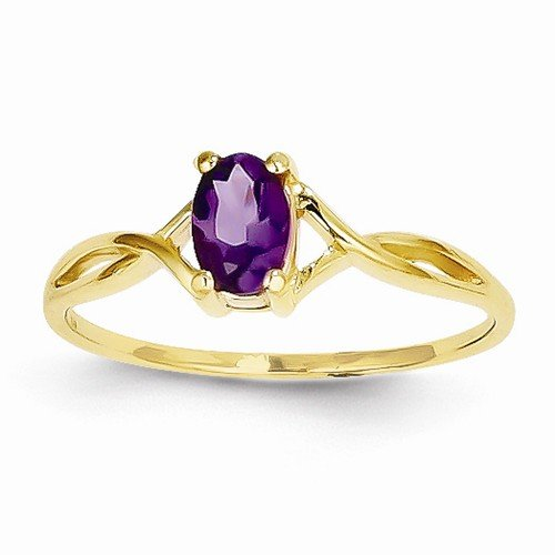 Solid 14k Yellow Gold Simulated Amethyst Simulated Birthstone Ring (1 to 6mm)