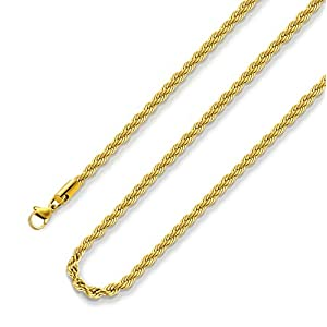 Best Epic Trends 41rV9I%2BzEoL._SS300_ 18k Real Gold Plated Rope Chain 2.5mm 5mm Stainless Steel Men Chain Necklace Women Chains 16 Inches 36 Inches