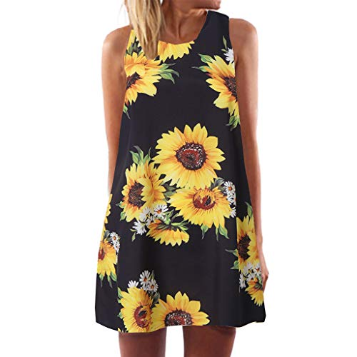 Toponly Sunflower Printed Boho Tank Dresses Women Summer Sleeveless Beach Vintage Short Mini -