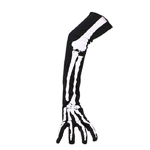 Halloween Gloves (Tinksky Halloween Skeleton Gloves Long Arm Full Finger Gloves Costume Cosplay Party Halloween Costumes 1 Pair)