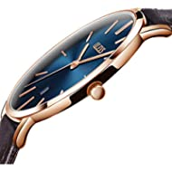 Men Watch Blue Dial,Automatic Japanese Quartz Movement Wristwatch Ultra thin Brown PU Leather...