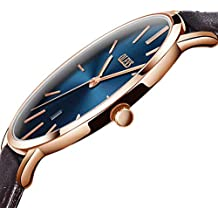 Men Watch Blue Dial,Automatic Japanese Quartz Movement Wristwatch Ultra thin Brown PU Leather Business Male Watches Waterproof Scratch-resistant Mens Rose Gold Wrist Watch OLEVS
