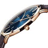 OLEVS Men Watch Automatic Japanese Quartz Movement Wristwatch Ultra thin Brown PU Leather