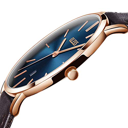 Men Watch Blue Dial,Automatic Japanese Quartz Movement Wristwatch Ultra thin Brown PU Leather Business Male Watches Waterproof Scratch-resistant Mens Rose Gold Wrist Watch OLEVS (Japanese Movement Quartz Dial)