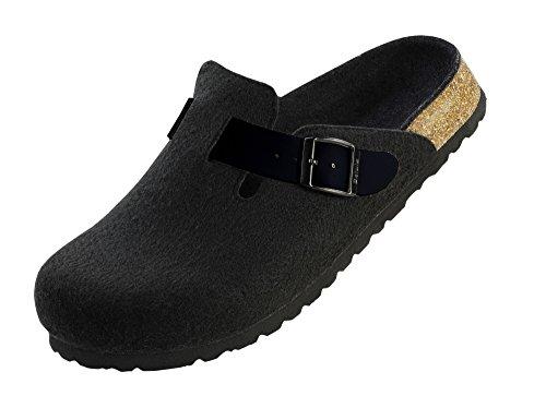 Betula Filzpantolette in schwarz mit schmalem Fußbett und Weichbettung