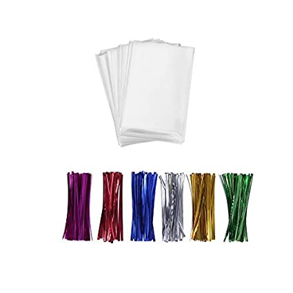 """ef6d4865 200 Treat Bags 3x4 with 200 Twist Ties 4"""" 6 Mix Colors - 1.4 mils"""