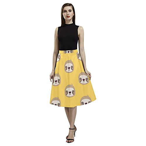 InterestPrint Crepe Skirt Sloth Women Vintage Pleated A Line Flare Skirt Office and Daily Life (Crepe Pleated Skirt)