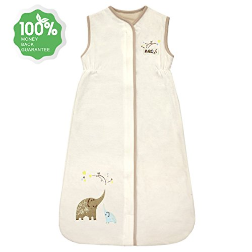 Unisex Baby Sleeping Bag - Super Soft Cotton Wearable Blanket - Creamy Elephant (Baby Sleeping Bag)