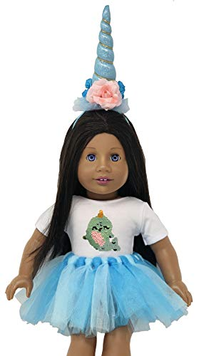 My Genius Dolls Narwhal Doll Clothes. Fits 18 inch Dolls Like Our Generation, My Life, American Girl Doll. Accessories, Outfits, Horn, Reversible Sequin Patch and Tutu (Our Generation Doll Cloths)