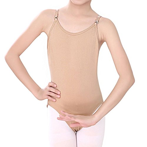 Camisole Leotard For Girl & Women With Adjustable Straps Back (Tan, Girl(5-10Y))