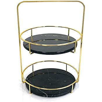 3bf7b5a70f7 PuTwo Vanity Tray 2 Tiers Black Marble Tray with Polished Gold Metal  Handles Jewelry Tray Handmade