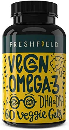 Freshfield Vegan Omega 3 DHA Supplement: Better Than Fish Oil | Algae Oil for Joint & Eye Health, Immune System Support, Proven Brain Boost and a Healthier Heart. DPA for Men & Women - 2 Month Supply
